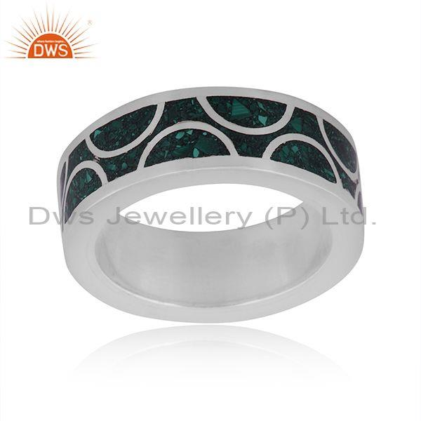 Malachite coin set fine 925 sterling silver embossed ring