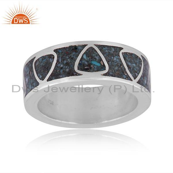 Arizona turquoise coin set fine 925 silver embossed ring