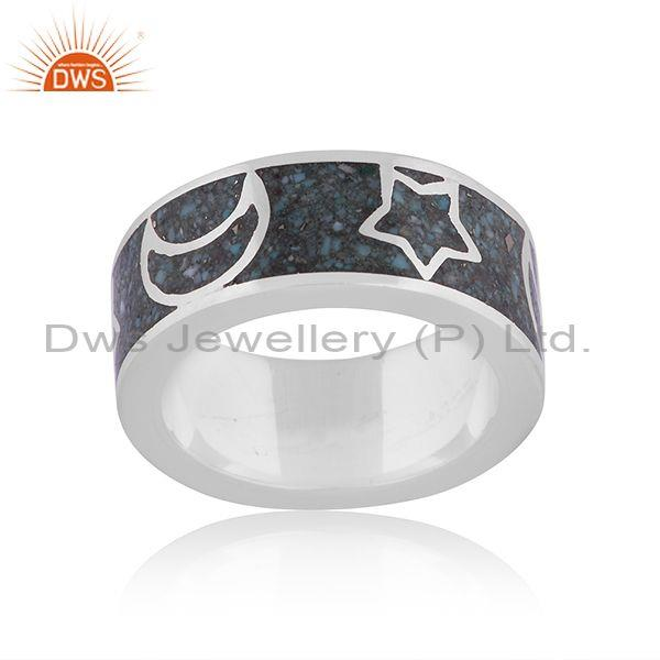 Arizona turquoise fine silver stars and moons embossed ring