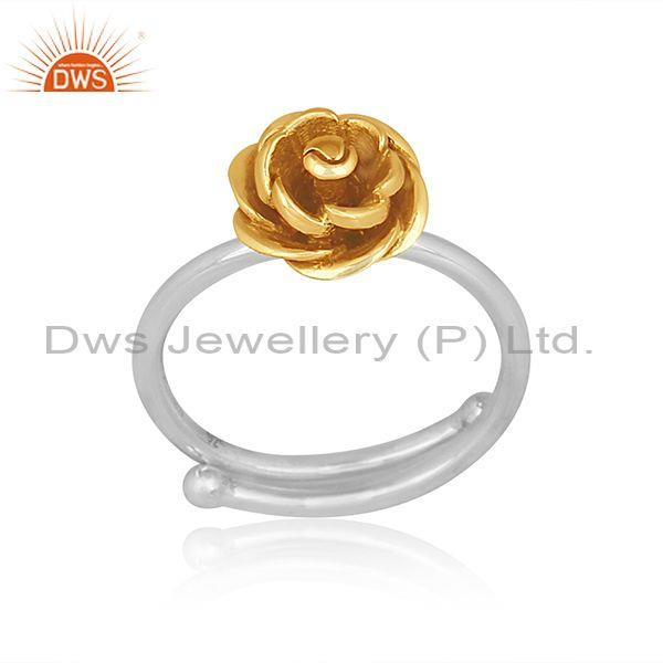 Handmade gold on sterling silver rose design classic ring