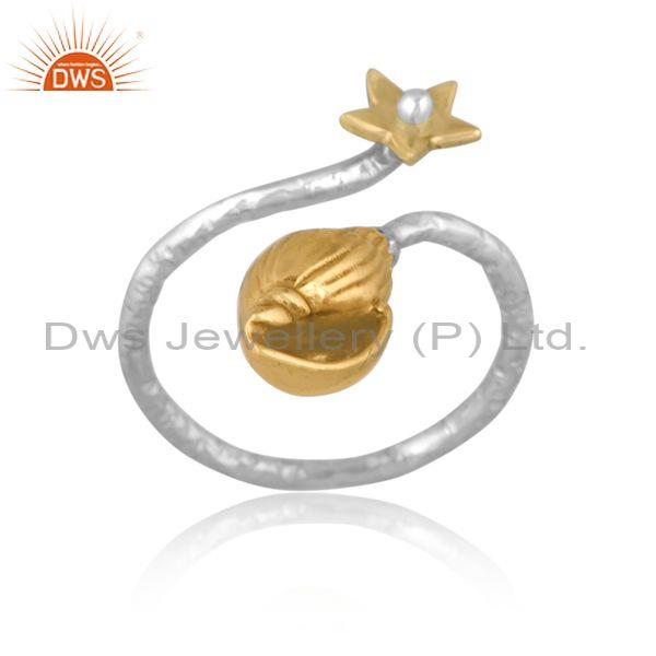 Handmade gold on fine silver classic floral designer ring