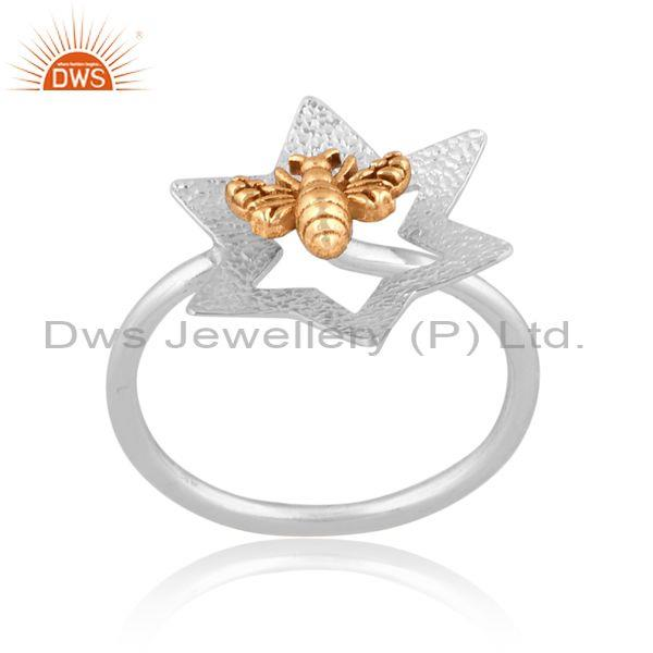 Honeybee Charm Set Gold On Fine 925 Silver Abstract Ring