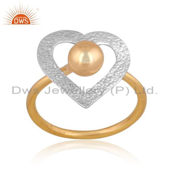Handmade and handhammered brass gold and white heart ring