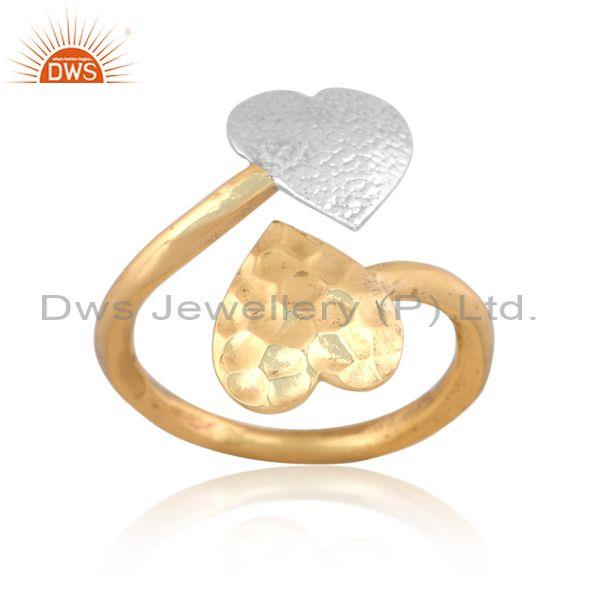 Handmade and handhammered brass gold and white open ring