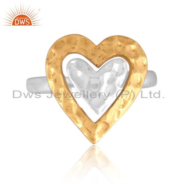 Handmade gold on fine 925 sterling silver heart charm ring