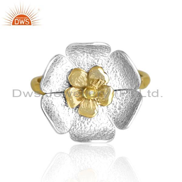 Handmade and handhammered brass gold and white floral ring