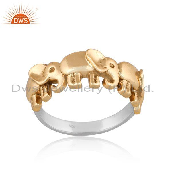 Elephant Charms Set Gold On Fine 925 Silver Abstract Ring