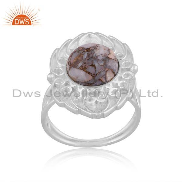 Mojave copper ethiopian opal set fine 925 silver floral ring