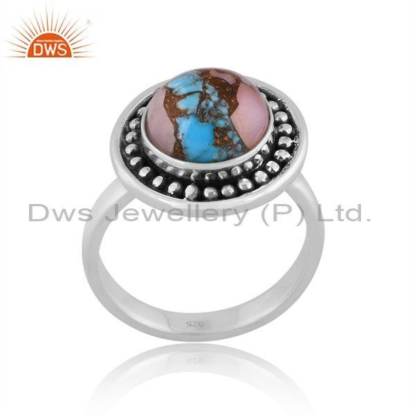 Mojave Copper Pink Opal Turquoise Oxidized Silver Ring