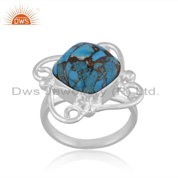 Mojave Copper Turquoise Set Fine 925 Sterling Silver Ring