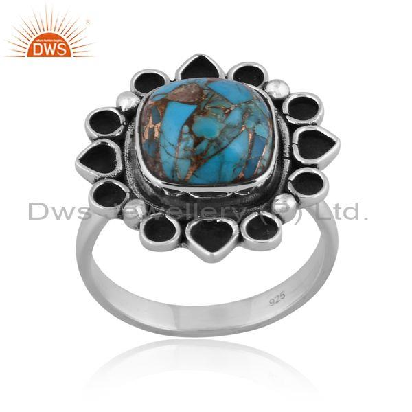 Mojave Copper Turquoise Oxidized Silver Classy Handmade Ring