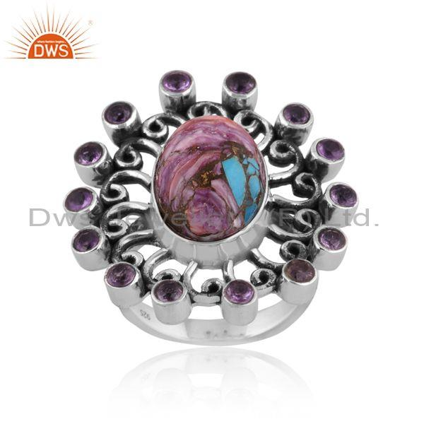 Mojave copper purple oyster turquoise set oxide silver ring