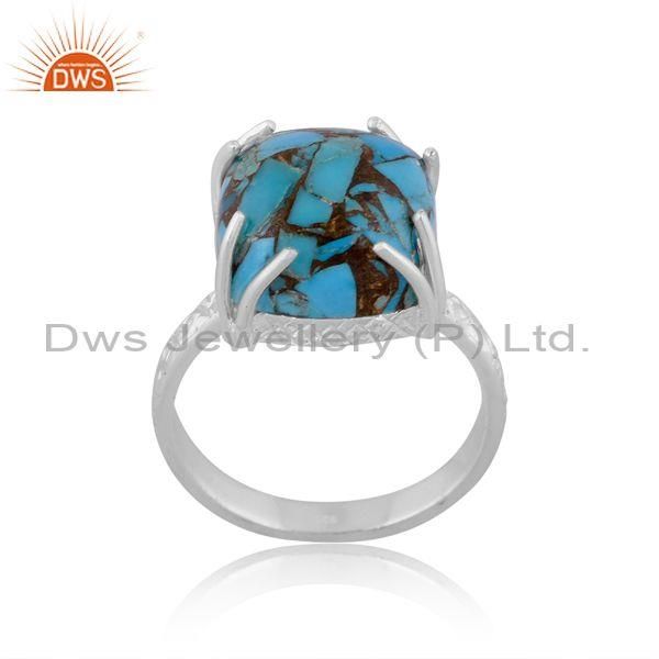 Rectangular Mojave Copper Turquoise Set Fine 925 Silver Ring