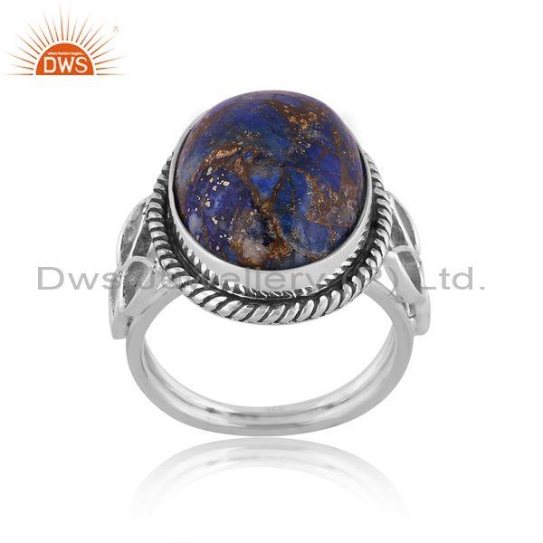 Oval Mojave Copper Lapis Set Oxidized Silver Handmade Ring