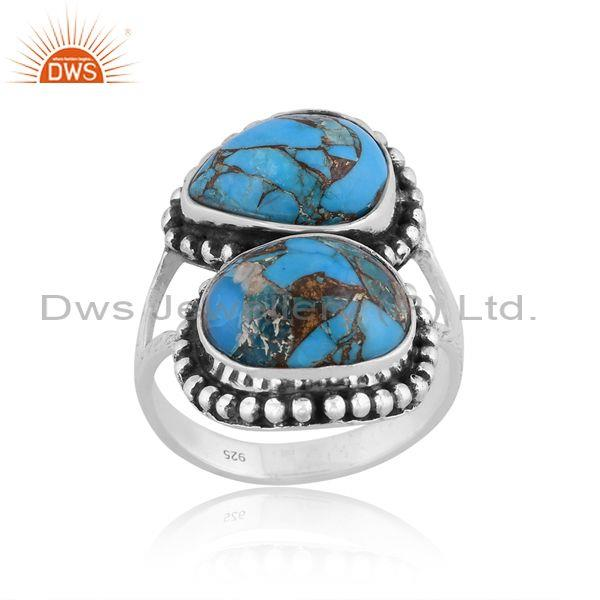 Mojave Copper Turquoise Set Handmade Oxidized Silver Ring