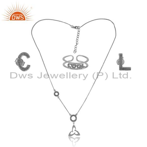 'Cool' Letters Oxidized Silver Trendy Statement Jewelry Set