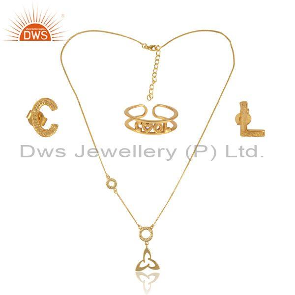 'cool' letters gold on 925 silver statement jewelry set