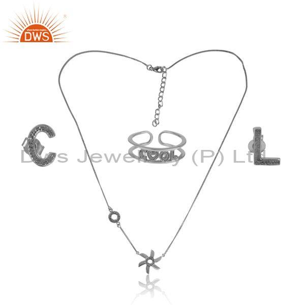 'Cool' Letters Oxidized Silver Floral Pendant Jewelry Set