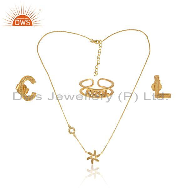'Cool' Letters Gold On Silver Floral Pendant Jewelry Set