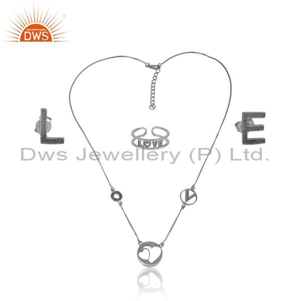 'Love' Letters Oxidized Silver Trendy Statement Jewelry Set