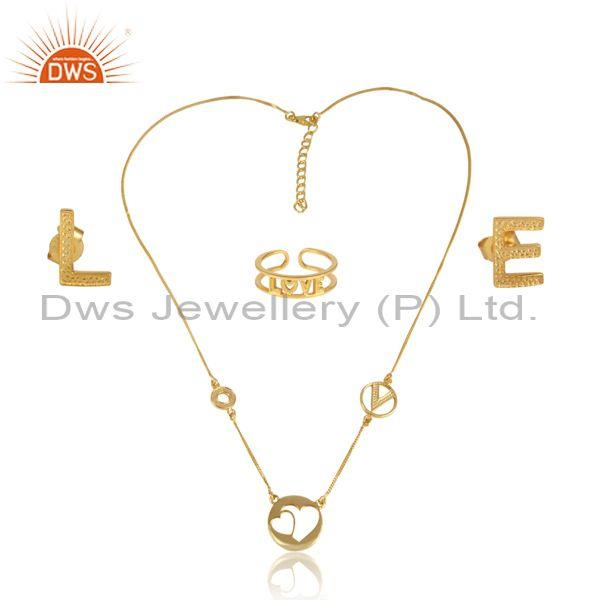 'Love' Letters Gold On 925 Silver Statement Jewelry Set