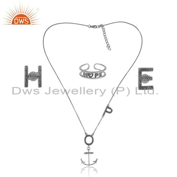 'Hope' Letters Oxidized Silver Trendy Statement Jewelry Set