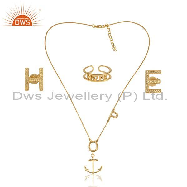 'Hope' Letters Gold On 925 Silver Statement Jewelry Set