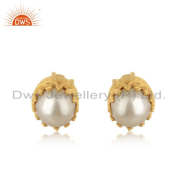 Pearl Stud 18K Yellow Gold Plated 925 Sterling Silver Tiny Earrings Jewelry