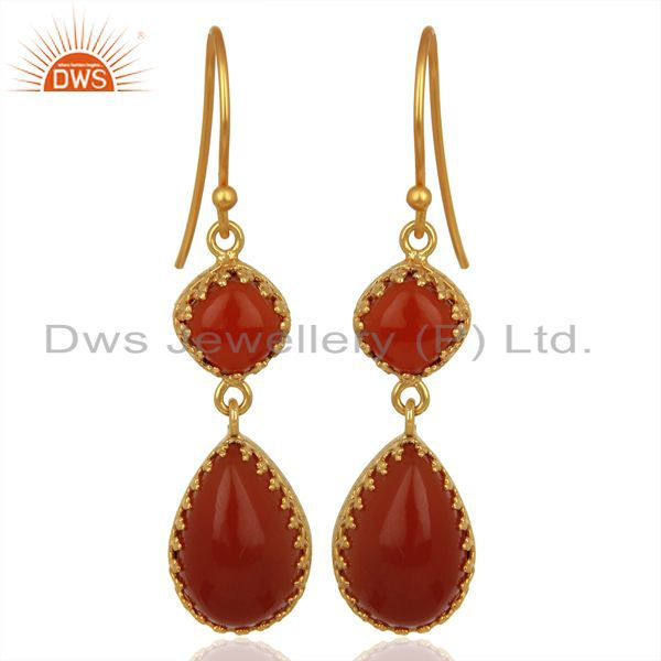 Yellow Gold Plated Silver Carnelian Gemstone Dangle Drop Earrings