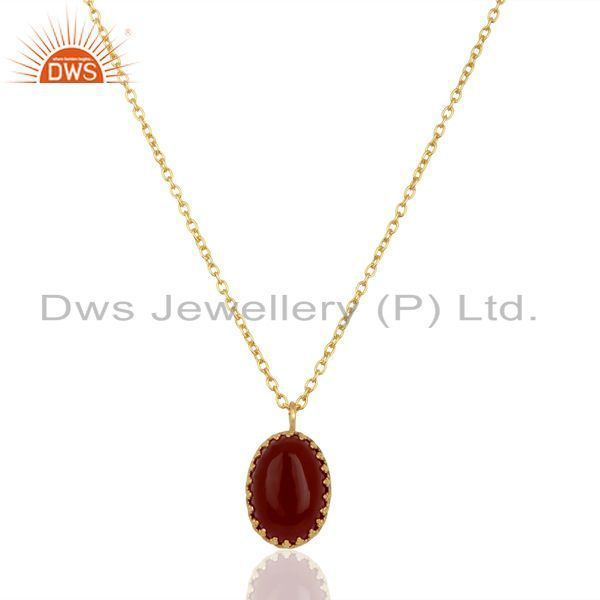 Carnelian gemstone gold plated silver chain pendant jewelry supplier