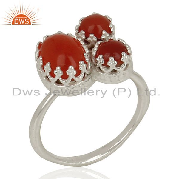 Handmade Sterling Fine Silver Carnelian Gemstone Fashion Ring