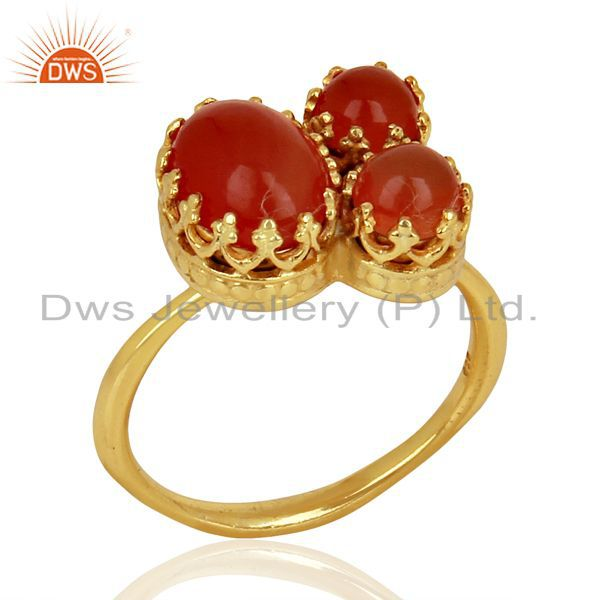 Indian Crown Design Gold Plated Silver Ring Carnelian Gemstone Rings