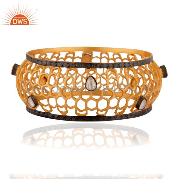 Handmade Sterling Silver Filigree Design Crystal Polki Gold Plated Wide Bangle