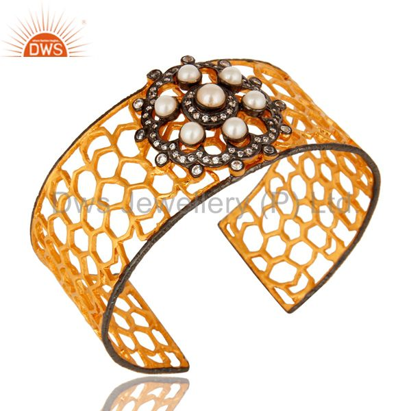 Handmade Pearl And CZ Filigree Cuff Bracelet With Yellow Gold Plated