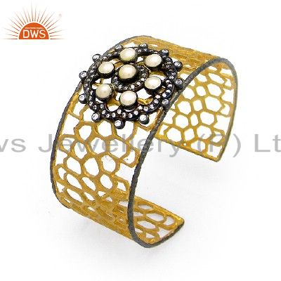 24K Gold Plated Sterling Silver Handcrafted Wide Cuff Bracelet With Pearl And CZ