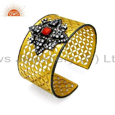 22K Yellow Gold Plated Sterling Silver Coral & CZ Star Filigree Cuff Bracelet