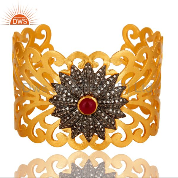 14K Yellow Gold Plated Brass Filigree Design Wide Cuff Bracelet With Chalcedony