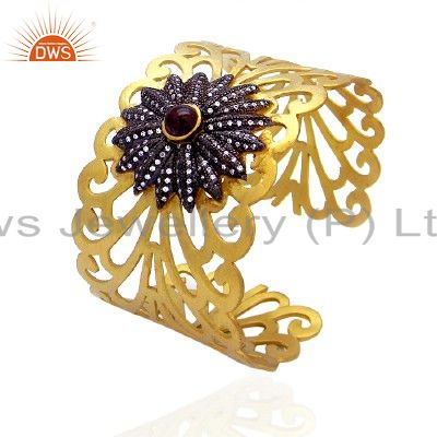 22K Yellow Gold Plated Sterling Silver Tourmaline & CZ Filigree Cuff Bracelet