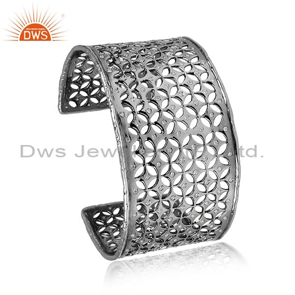 CZ Set Oxidized Sterling Silver Turkish Design Inspired Cuff