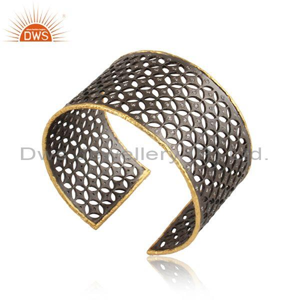 Cz set gold and black plated silver textured pattern ring