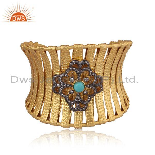 Hand Hammered Arizona Turquoise, CZ Set Gold On Silver Cuff