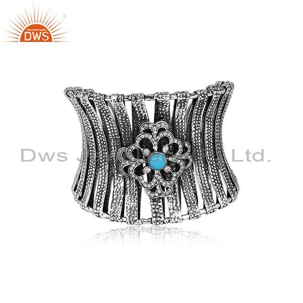 CZ And Round Turquoise Set Oxidized 925 Silver Pattern Cuff
