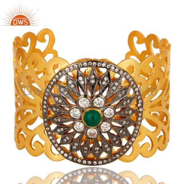 Green Onyx And CZ Designer 14K Yellow Gold Plated Wide Cuff Bracelet / Bangle