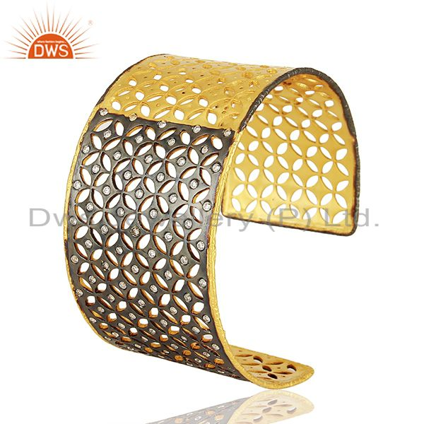 22k yellow gold plated sterling silver cubic zirconia fashion wide cuff bracelet