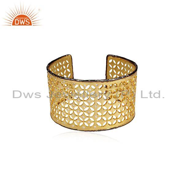 14K Yellow Gold Plated Sterling Silver CZ Star Filigree Design Wide Cuff Bangle