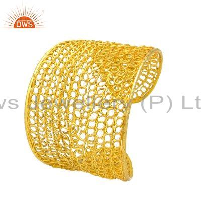 22K Yellow Gold Plated Sterling Silver Wire Woven Designer Wide Cuff Bracelet