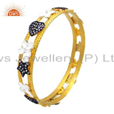 22k yellow gold plated sterling silver cz designer wide bangle
