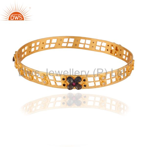 18k Yellow Gold over 925 Sterling Silver White Zircon Filigree Bracelet Bangle