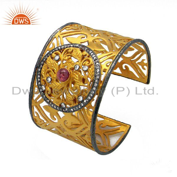 22K Gold Plated Sterling Silver Tourmaline And CZ Floral Filigree Cuff Bracelet