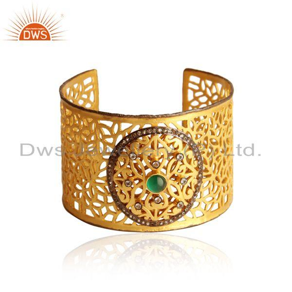 Gold plated silver filigree cuff with green onyx and white topaz